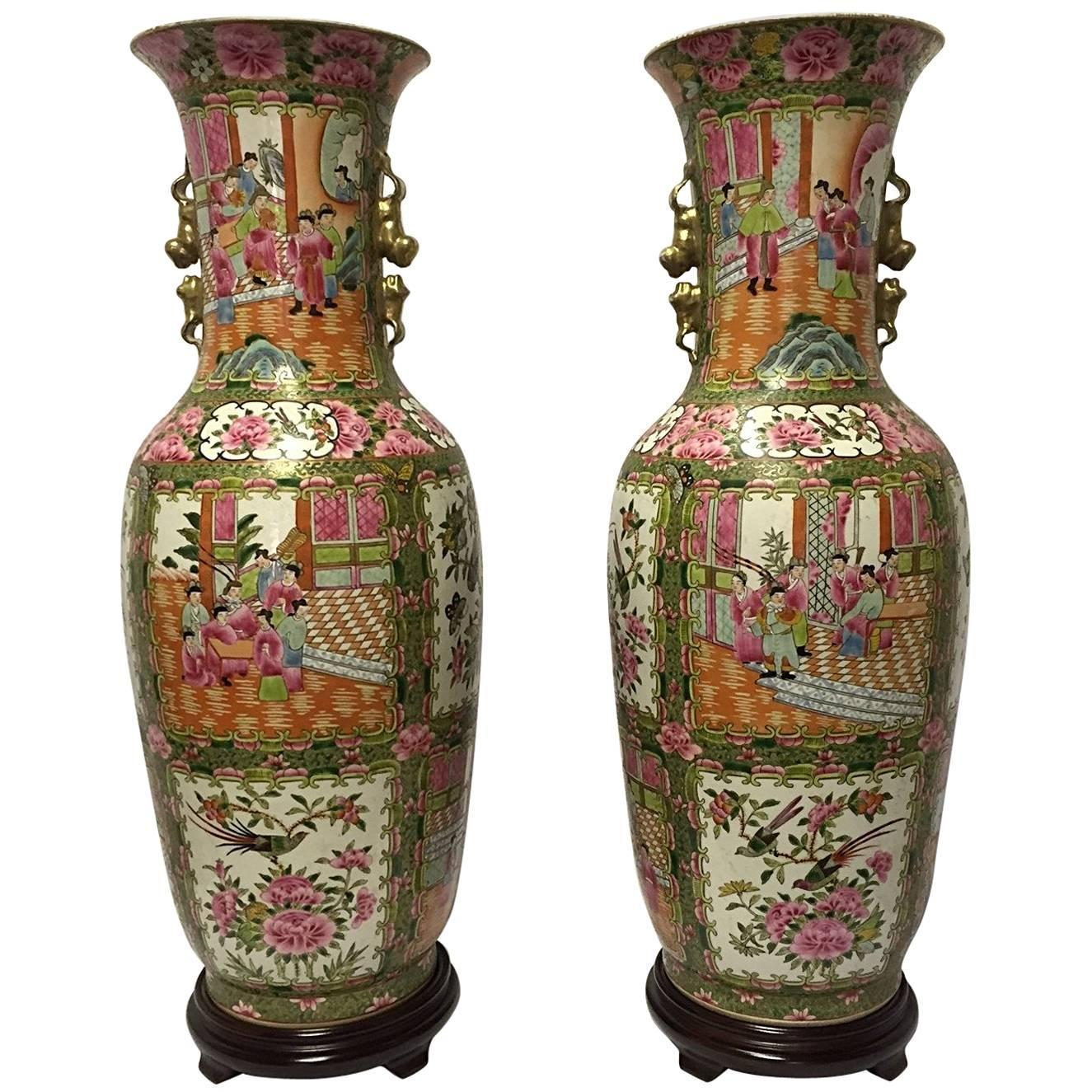 Antique chinese porcelain canton rose medallion vases for sale at pair of chinese rose canton porcelain vases circa 1900 floridaeventfo Choice Image