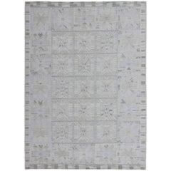 Large Scandinavian/Swedish Geometric Design Flat Weave Rug in Pastel Tones