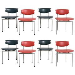 """Set of Eight Dutch Industrial """"Meander"""" Edition Chairs Designed by Rudolf Wolf"""