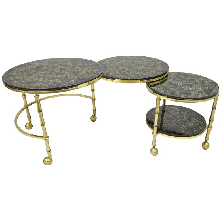 Solid Brass And Gold Flecks Glass Faux Bamboo Nesting Expansion Cocktail Table For Sale At 1stdibs