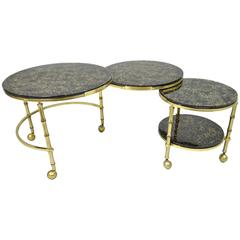 Solid Brass and Gold Flecks Glass Faux Bamboo Nesting Expansion Cocktail Table