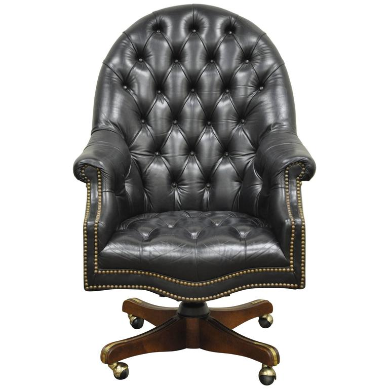 Perfect Vintage Deep Tufted Black Leather English Chesterfield Style Office Desk  Chair For Sale