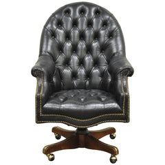 Deep Tufted Black Leather English Chesterfield Style Rolling Office Desk Chair