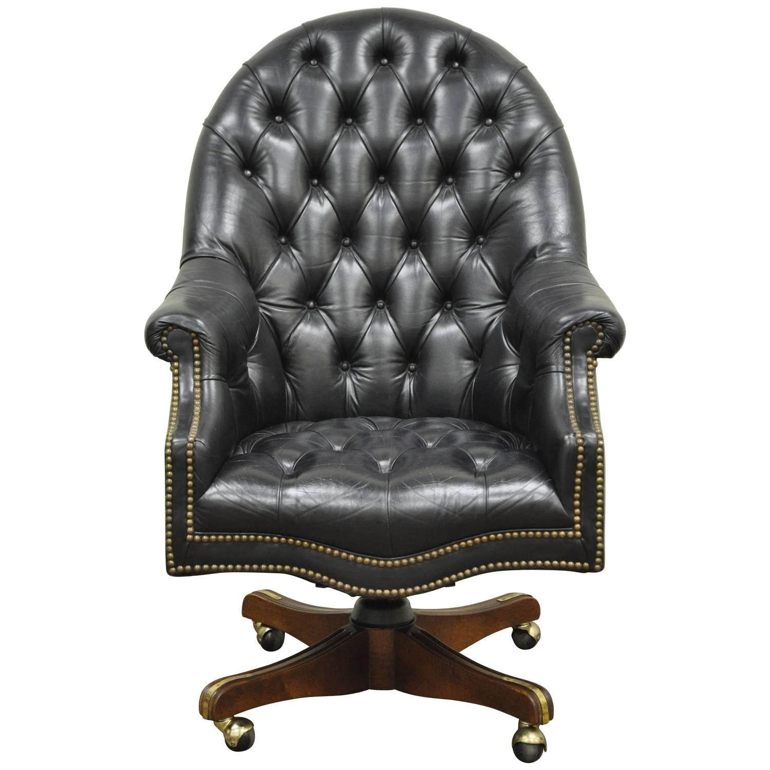 Exceptional Vintage Deep Tufted Black Leather English Chesterfield Style Office Desk  Chair For Sale At 1stdibs