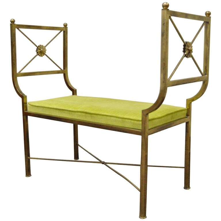Brass Hollywood Regency Neoclassical Style Bench after Mastercraft X-Form For Sale