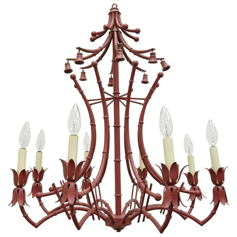 Vintage Red Italian Faux Bamboo Chinese Chippendale Tole Metal Pagoda Chandelier For Sale