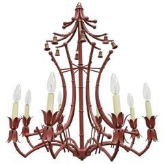 Vintage Red Italian Faux Bamboo Chinese Chippendale Tole Metal Pagoda Chandelier