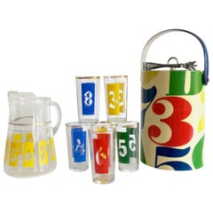 """1960'S Groovy Graphic """"Numbers"""" Printed Glass Bar Set/10"""