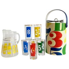 """1960'S Groovy Graphic Ten-Piece """"Numbers"""" Printed Glass Bar Set"""