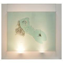 Large Eugene Massin Acrylic Lucite Nude Woman Wall Art Light Box Sculpture 45x51