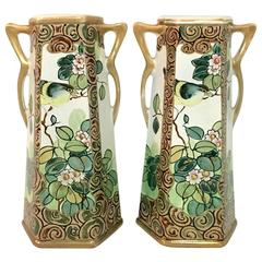 Pair of Antique Royal Nippon Hand-Painted Bird and Flora Panel Vases