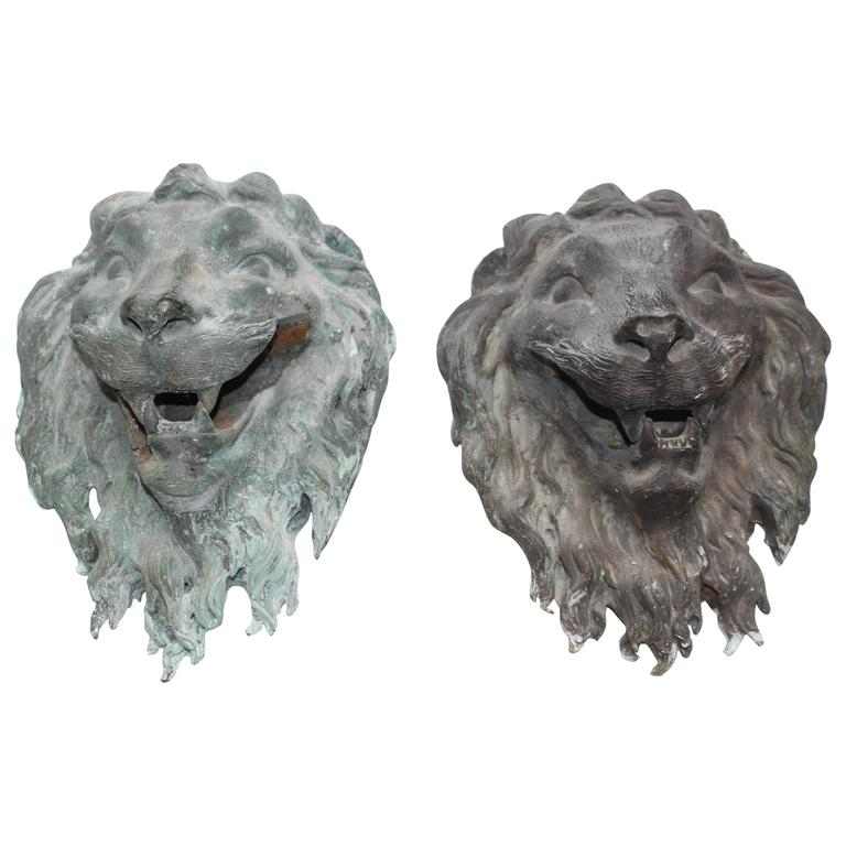 Pair of French Bronze Lion's Masks