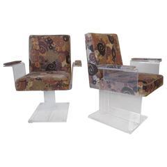 Vladimir Kagan Pedestal Armchairs With Larsen Fabric