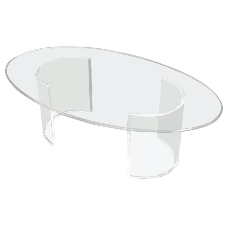 Oval Glass Top Coffee Table On Lucite Legs At 1stdibs
