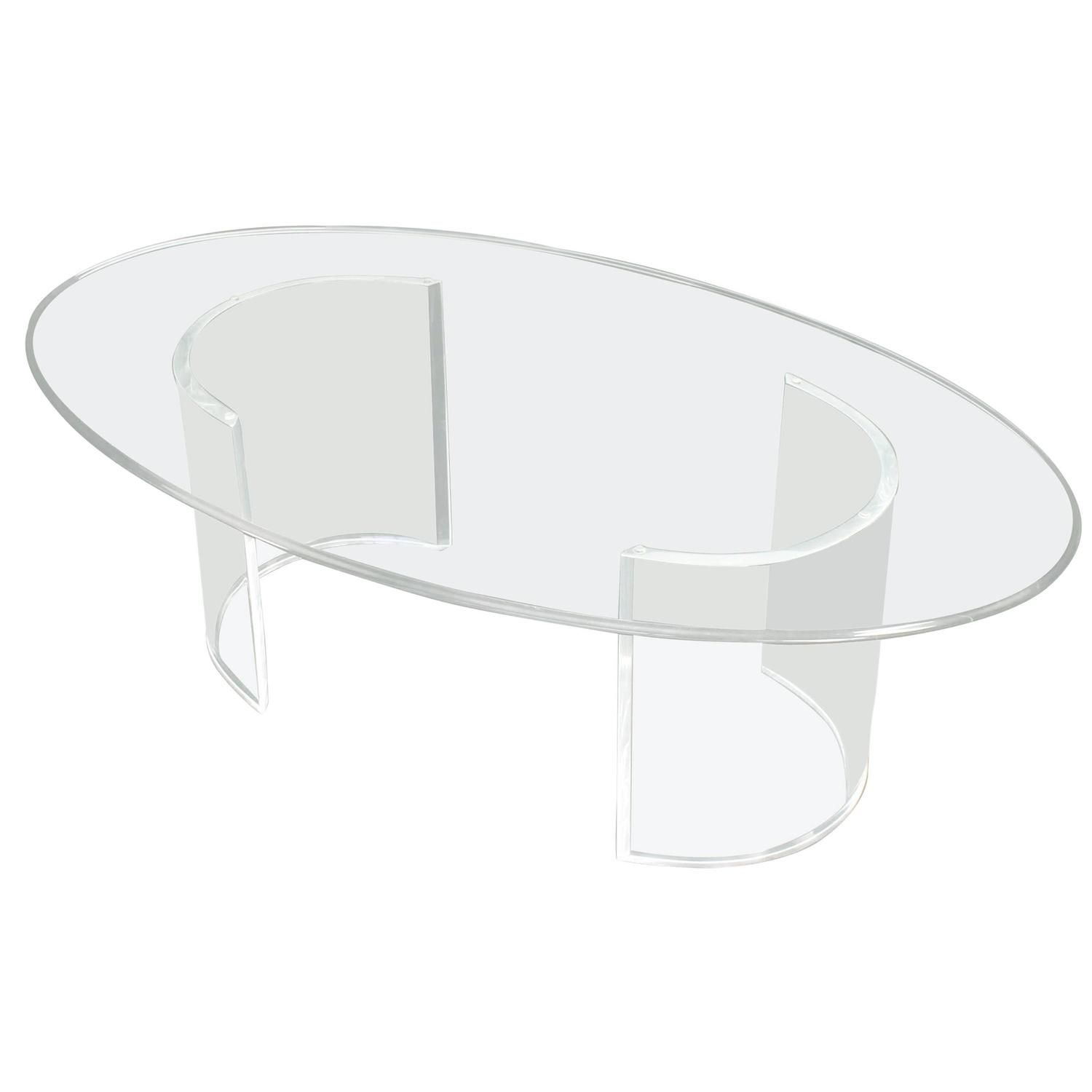 Oval glass top coffee table on lucite legs at 1stdibs Glass oval coffee tables