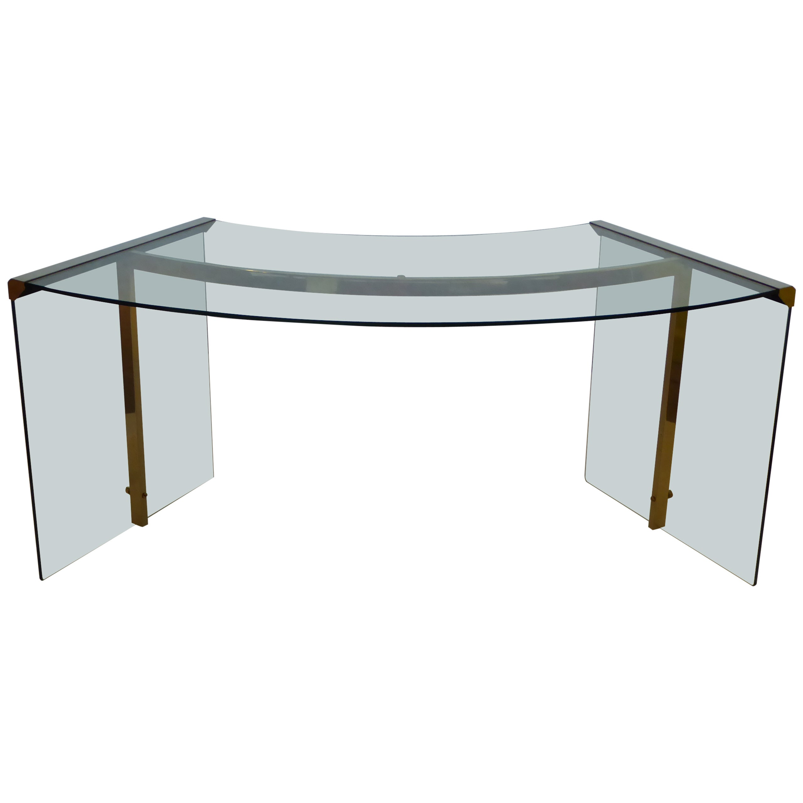 1971 Glass Gallotti and Radice President Desk Italy at 1stdibs