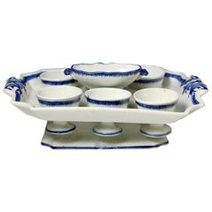 English Pearlware Pottery Egg Cruet with Salt, Six Egg Cups, Early 19th Century