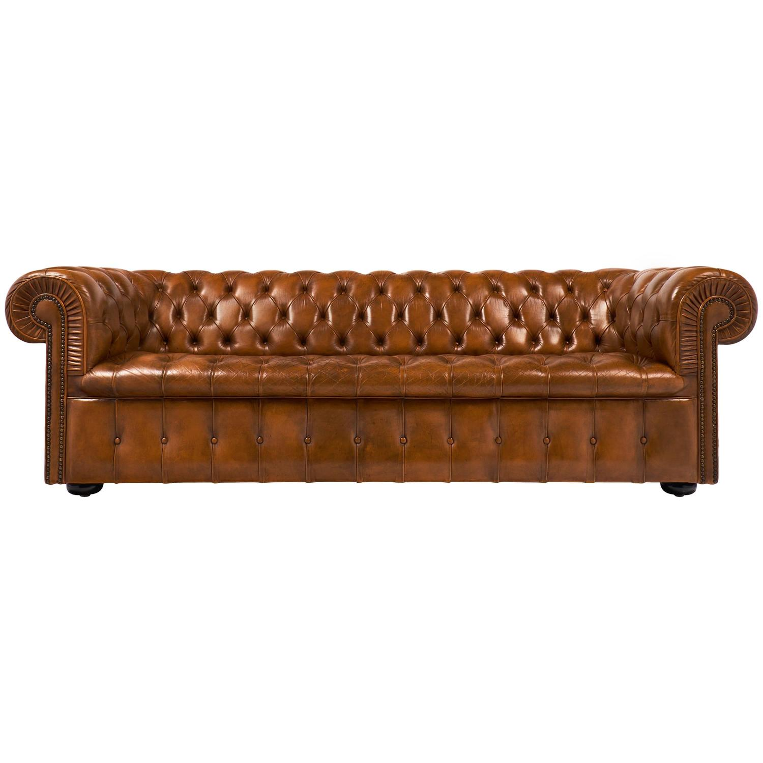 Vintage English Cognac Leather Chesterfield Sofa At 1stdibs