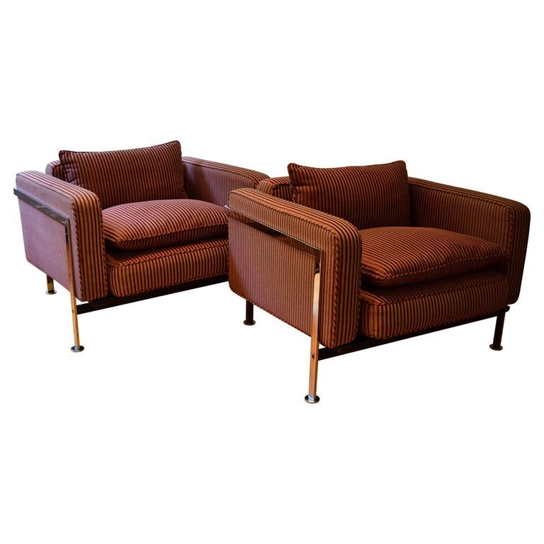 Pair of Mid Century Modern Chrome Club Chairs By Robert Haussmann, 1970's