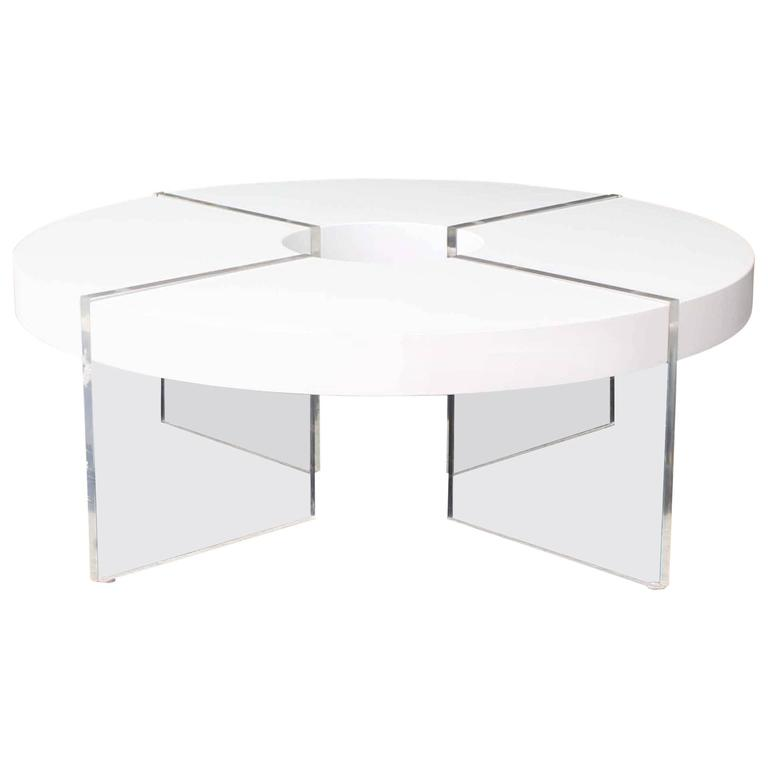 Round Circle White Lacquer Lucite Coffee Table For