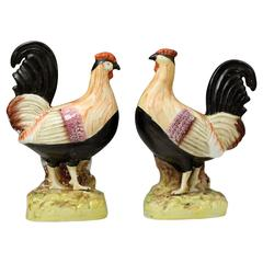 Antique Staffordshire Pottery Figures of Roosters, Mid-19th Century, England