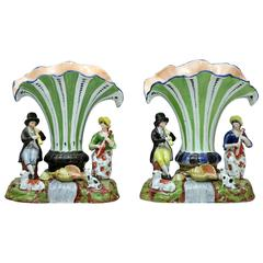 Antique Staffordshire Pottery Trumpet Shape Spill Vases with Figures of Musician