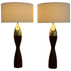 Massive Pair of Mid Century Modern Tony Paul Turned Teak and Brass Table Lamps