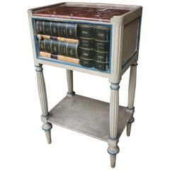 French Faux Book Marble-Top Side Tables