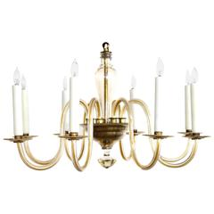 Shapely Murano 1950s Pale Gold Glass Eight-Light Chandelier