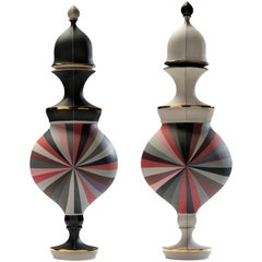 Contemporary Red Urns with Black and White Panels Porcelain Vessels