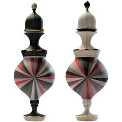Red Urns with Black and White Panels by Peter Pincus