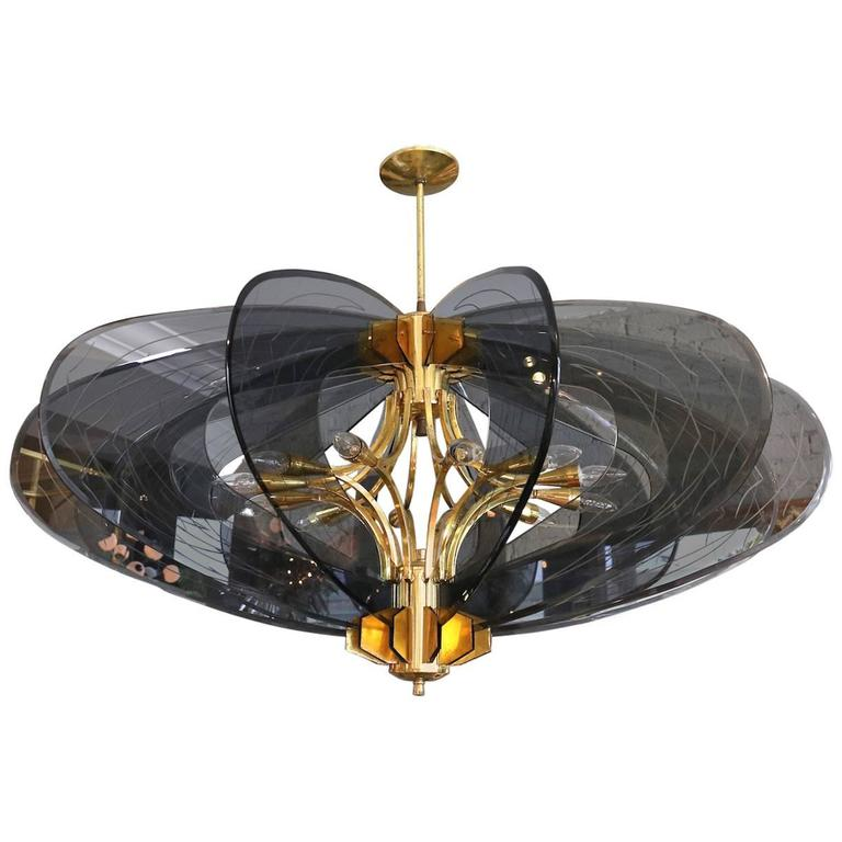 Smoked Glass 1960s Dominici Brass Chandelier For Sale