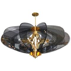 Smoked Glass 1960s Dominici Brass Chandelier
