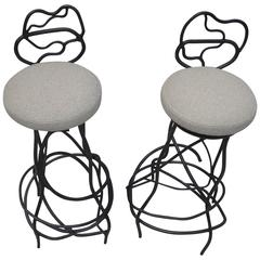 Sculptural Freeform Wrought Iron Bar Stools Pair