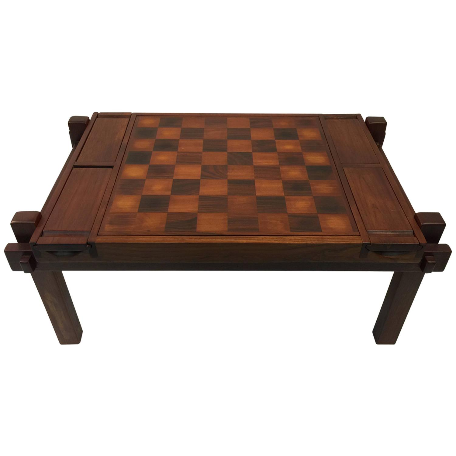 Fantastic Danish Modern Rosewood and Teak Game Table Backgammon