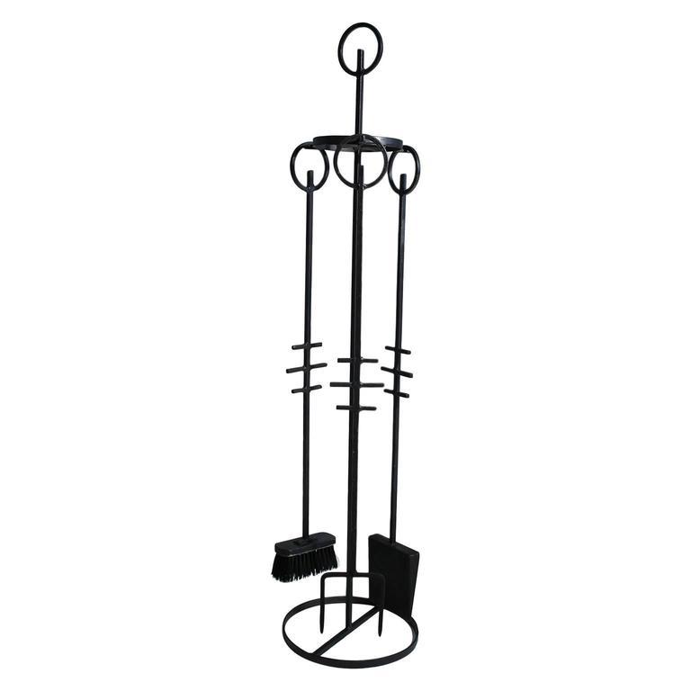 Erik Hogland Attributed Wrought Iron Modernist Fire Tools