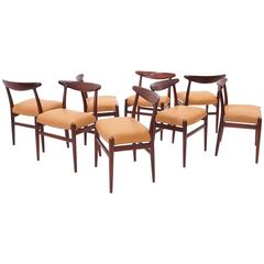 Set of Eight Teak and Leather Hans Wegner Dining Chairs