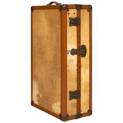 French Vintage Moleskin Steamer Trunk or Suitcase