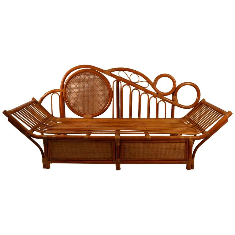 Bamboo Daybed, Chaise Attributed to Parzinger