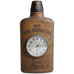 Antique Old Mr. Boston Fine Liquors Advertising Flask Clock Trade Sign