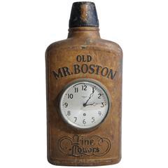 Antique Old Mr. Boston Fine Liquors Advertising Flask Clock Trade Sign
