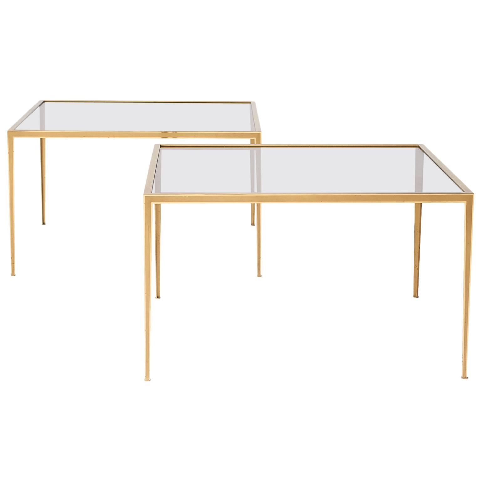 Pair of Brass Square Form Werkstatte Coffee Tables