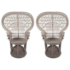 "Pair of Rattan Wicker Fan Back "" Emmanuelle"" Peacock Chairs"