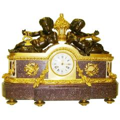 Bronze and Porphyry Clock by Julien Le Roy, 19th Century