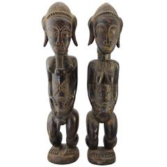 19th Century Large Baule Cote D'Ivoire Male and Female Figures