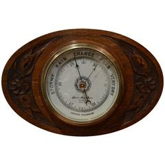 Edwardian Oval Oak Barometer