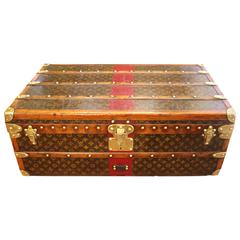 1920s Small Louis Vuitton Stenciled Monogramm Canvas Steamer Trunk, Red Stipe
