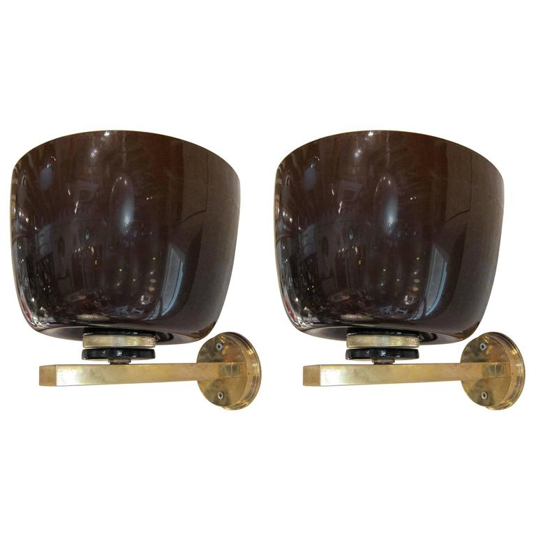 Pair of Brass and Murano Glass Wall Lights, Italy, 1970 at 1stdibs