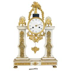 French Louis XVI Period White Carrara Marble and Ormolu Clock, circa 1780
