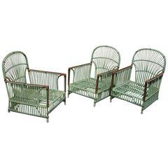 Three Matching Stick Wicker Armchairs